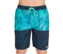 Watercolor Palms Hot Tub Boardshorts blue