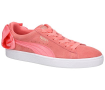 Suede Bow Sneakers peach