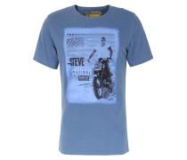Baumwoll T-Shirt mit Steve McQueen Print Dunkelblau
