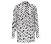 Gemusterte Seiden-Bluse Weiß/Navy