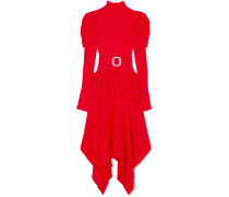 Gestuftes Kleid aus Jacquard mit Gürtel