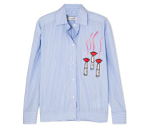 Verziertes Hemd aus Gestreifter Baumwollpopeline