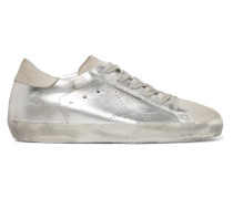 Superstar Sneakers aus Metallic-leder und Veloursleder in Distressed-optik