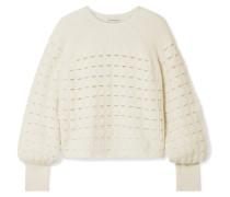 Pullover aus einer Wollmischung in Lochstrick