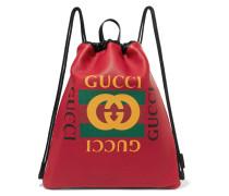 Bedruckter Rucksack aus Strukturiertem Leder