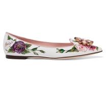 Flache Schuhe aus Floral Bedrucktem Lackleder
