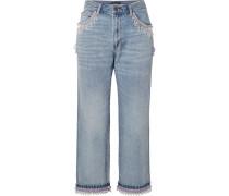 Verkürzte Boyfriend-jeans mit Zierperlen