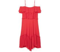 Schulterfreies Kleid aus Plissiertem Georgette