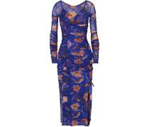 Canton Floral Bedrucktes Kleid aus Satin und Mesh