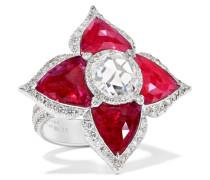 Ring aus 18 Karat  mit Rubinen und Diamanten