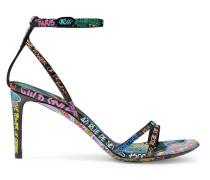Graffiti Bedruckte Sandalen aus Strukturiertem Leder