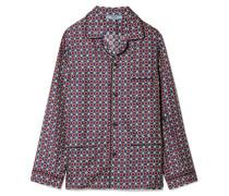 Bedrucktes Oversized-hemd aus Glänzendem Seiden-twill