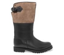 Maronibraterin Kniehohe Stiefel aus Leder und Veloursleder