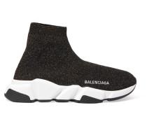 Speed High-top-sneakers aus Metallic-stretch-strick