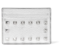 Garavani Rockstud Kartenetui aus Strukturiertem Metallic-leder
