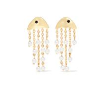 Ohrringe aus 9 Karat  mit Perlen und Diamanten