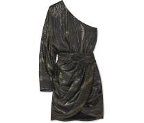 Drapiertes Minikleid aus Metallic-jacquard aus einer Seidenmischung