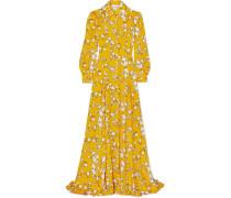 Robe aus Glänzendem Twill mit Blumenprint