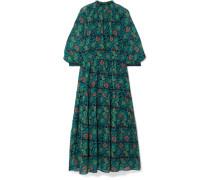 Dubrovnik Gestuftes Kleid aus Bedrucktem Seidenchiffon