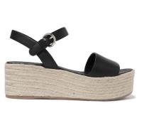 Espadrille-sandalen aus Leder mit Plateau