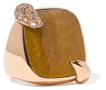 Ring aus 18 Karat  mit Tigerauge und Diamanten