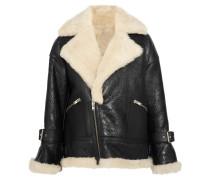 Mantel aus Strukturiertem Leder und Shearling