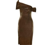 Emily Schulterfreies Kleid aus Stretch-strick in Metallic-optik