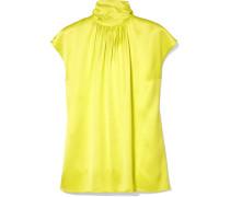 Neonfarbene Bluse aus Seidensatin
