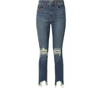 High Line Verkürzte Skinny Jeans in Distressed-optik