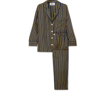 Marina Pyjama aus Gestreifter Seiden-charmeuse