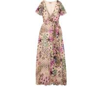 Claudette Bedrucktes Maxi-wickelkleid aus Devoré-chiffon aus einer Seidenmischung