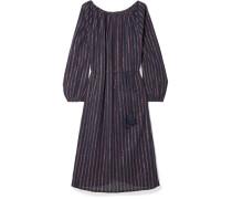 Esmeralda Lyrical Gestreiftes Kleid aus einer Baumwollmischung in Metallic-optik