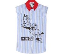 Bedrucktes Hemd aus Gestreifter Baumwollpopeline