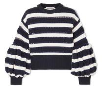 Gestreifter Pullover aus einer Baumwoll-wollmischung in Lochstrick