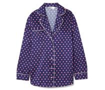 Traveler Hemd aus Seidensatin mit Polka-dots