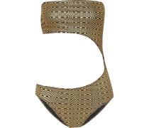 Bandeau-badeanzug aus Metallic-seersucker