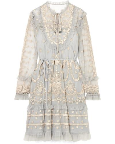 Flapper Minikleid aus Besticktem Tüll