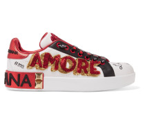 Verzierte Sneakers aus Leder mit Print