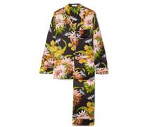 Lila Pyjama aus Seidensatin mit Blumenprint