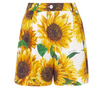Shorts aus Baumwollpopeline mit Blumenprint