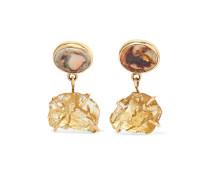 Ohrringe aus 14 Karat  mit Citrinen und Opalen