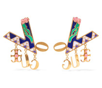 Goldfarbene Ohrringe mit Emaille
