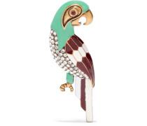 Parrot Brünierte Goldfarbene Brosche Mit Swarovski-kristallen Und Emaille -