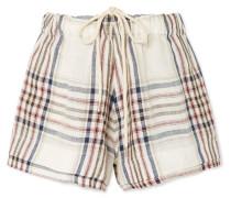 Karierte Shorts aus Leinen-canvas