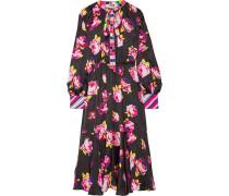 Kleid aus Bedrucktem Satin mit Schluppe