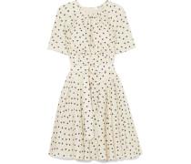 Kleid aus Seide mit Polka-dots und Gürtel