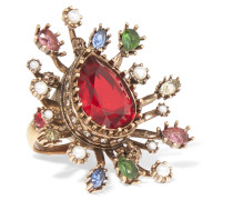 Vereter Ring mit Kristallen und Kunstperlen