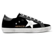 Superstar Sneakers aus Samt und Leder in Distressed-optik