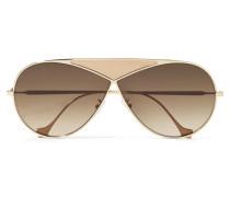 Puzzle Mittelgroße Pilotensonnenbrille aus farbenem Metall und Leder