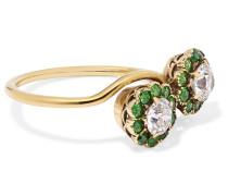 Ring aus Alt mit Diamanten und Demantoiden